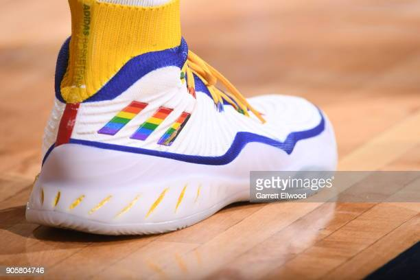 The sneakers of Jamal Murray of the Denver Nuggets as seen during the game against the Dallas Mavericks on January 16 2018 at the Pepsi Center in...