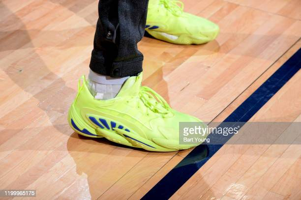 The sneakers of Jamal Murray of the Denver Nuggets before a game against the San Antonio Spurs on February 10 2020 at the Pepsi Center in Denver...