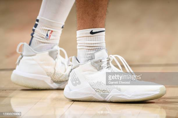 The sneakers of Jamal Murray of the Denver Nuggets before the game against the Phoenix Suns during Round 2, Game 1 of the 2021 NBA Playoffs on June...