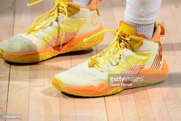 The sneakers of Jamal Murray of the Denver Nuggets before the game against the Phoenix Suns during Round 2, Game 4 of the 2021 NBA Playoffs on June...
