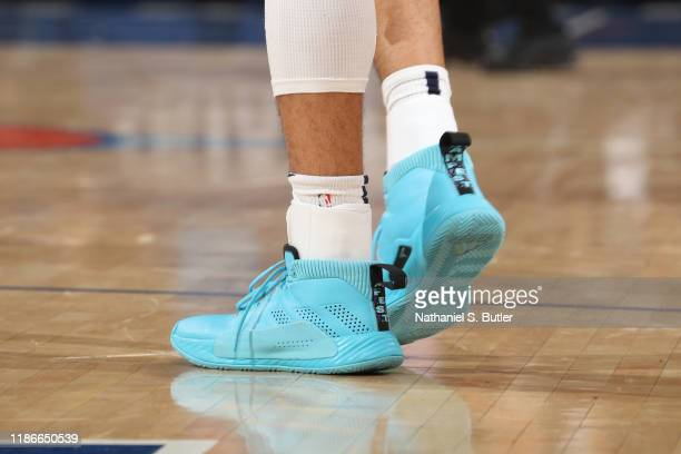 The sneakers of Jamal Murray of the Denver Nuggets during a game against the New York Knicks on December 5 2019 at Madison Square Garden in New York...