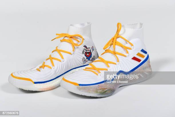 The sneakers of Jamal Murray of the Denver Nuggets during a portrait shoot before the game against the Oklahoma City Thunder on November 9 2017 at...