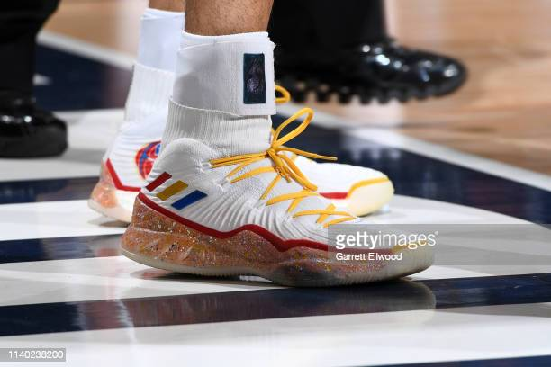 The sneakers of Jamal Murray of the Denver Nuggets during Game One of the Western Conference Semifinals of the 2019 NBA Playoffs against the Portland...
