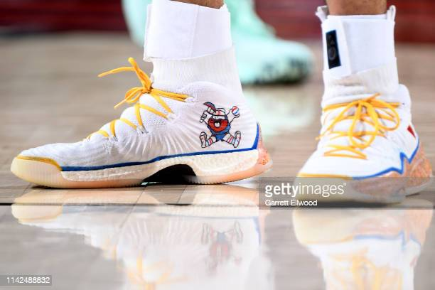 The sneakers of Jamal Murray of the Denver Nuggets during Game Six of the Western Conference Semifinals of the 2019 NBA Playoffs against the Portland...