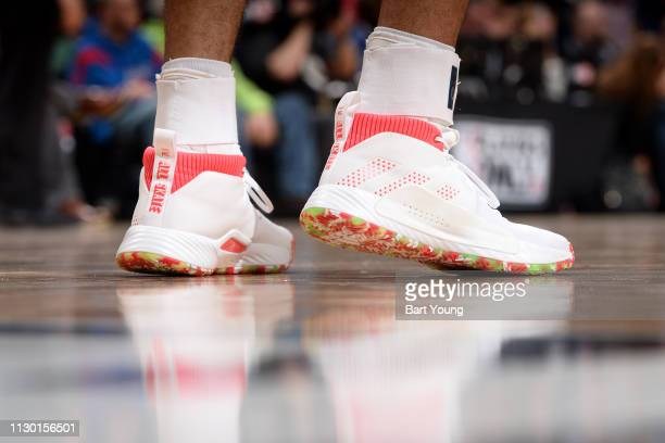 The sneakers of Jamal Murray of the Denver Nuggets during the game against the Minnesota Timberwolves on March 12 2019 at the Pepsi Center in Denver...