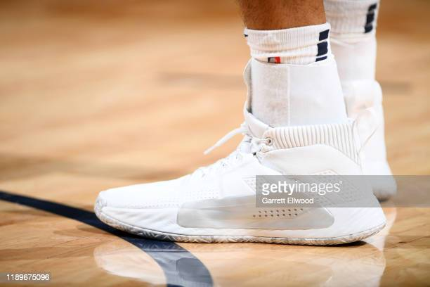 The sneakers of Jamal Murray of the Denver Nuggets during the game against the Minnesota Timberwolves on December 20 2019 at the Pepsi Center in...