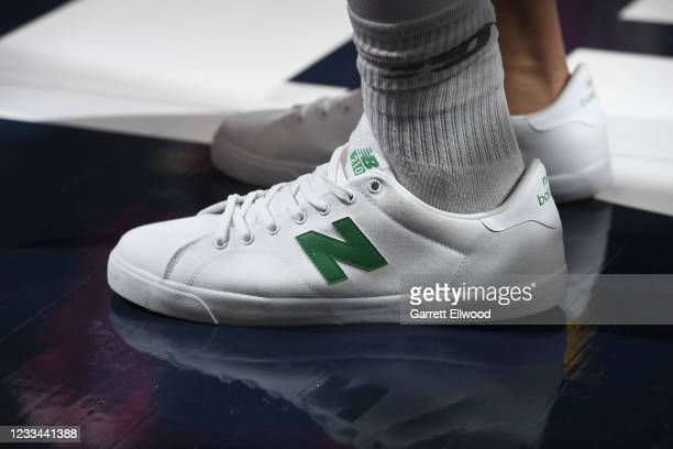 The sneakers of Jamal Murray of the Denver Nuggets during the game against the Phoenix Suns during Round 2, Game 4 of the 2021 NBA Playoffs on June...