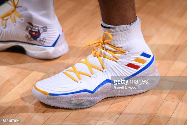 The sneakers of Jamal Murray of the Denver Nuggets during the game against the Brooklyn Nets on November 7 2017 at the Pepsi Center in Denver...