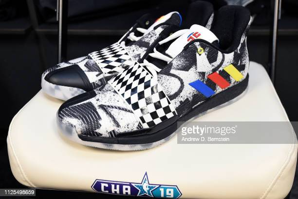 The sneakers of James Harden of Team LeBron before the 2019 NBA AllStar Game on February 17 2019 at the Spectrum Center in Charlotte North Carolina...