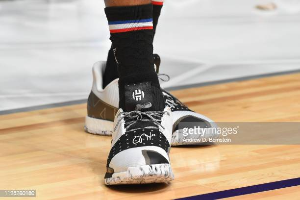The sneakers of James Harden of Team LeBron during the 2019 NBA AllStar Practice and Media Availability on February 16 2019 at Bojangles Coliseum in...