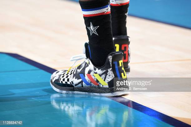 The sneakers of James Harden of Team LeBron during the 2019 NBA AllStar Game on February 17 2019 at the Spectrum Center in Charlotte North Carolina...