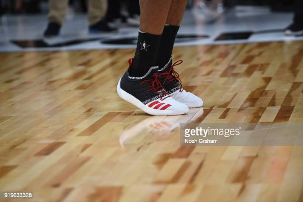 The sneakers of James Harden of team Stephen during the 2018 NBA All Star Practice as part of 2018 AllStar Weekend at Verizon Up Arena at LACC on...