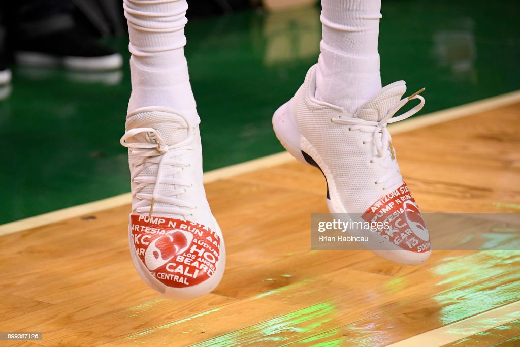 The sneakers of James Harden #13 of the Houston Rockets are seen before the game against the Boston Celtics on December 28, 2017 at the TD Garden in Boston, Massachusetts.
