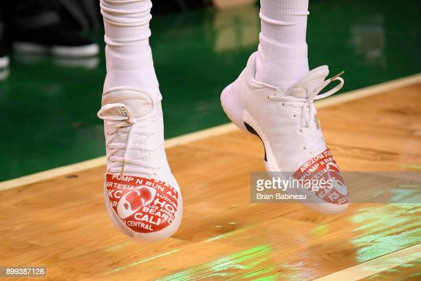 The sneakers of James Harden of the Houston Rockets are seen before the game against the Boston Celtics on December 28 2017 at the TD Garden in...