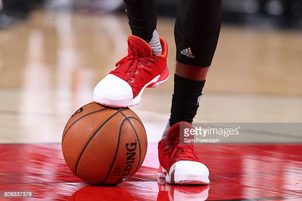 The sneakers of James Harden of the Houston Rockets are seen during the game against the Portland Trail Blazers on November 27 2016 at the Moda...