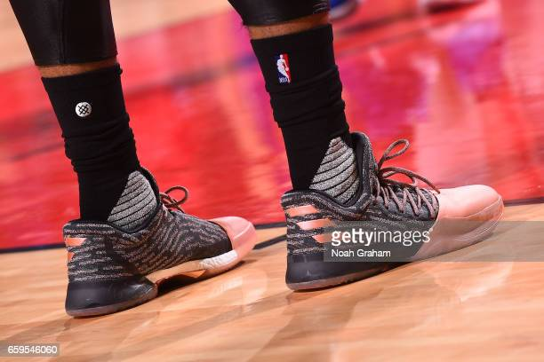 The sneakers of James Harden of the Houston Rockets are seen during the game against the Golden State Warriors on March 28 2017 at the Toyota Center...