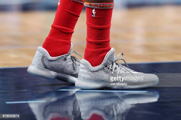 The sneakers of James Harden of the Houston Rockets are seen during the game against the Memphis Grizzlies on November 18 2017 at FedExForum in...
