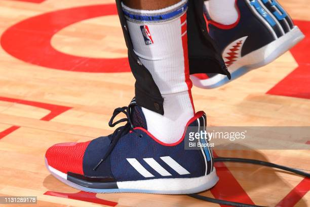 The sneakers of James Harden of the Houston Rockets are worn during a game against the Minnesota Timberwolves on March 17 2019 at the Toyota Center...