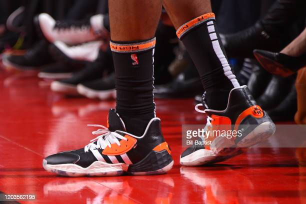 The sneakers of James Harden of the Houston Rockets during the game against the Memphis Grizzlies on February 26 2020 at the Toyota Center in Houston...