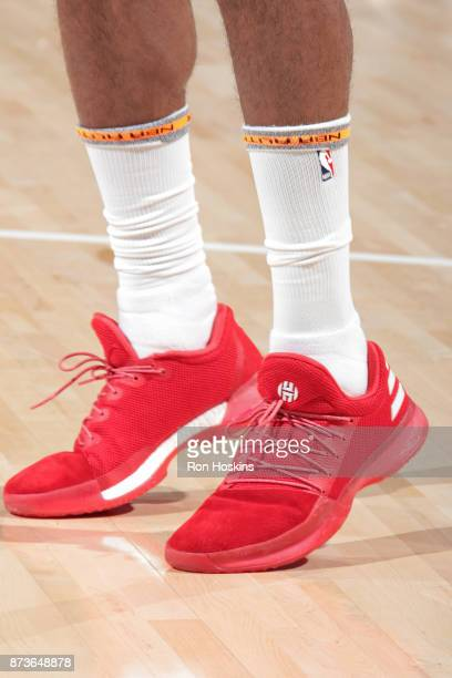 The sneakers of James Harden of the Houston Rockets during the game against the Indiana Pacers on November 12 2017 at Bankers Life Fieldhouse in...
