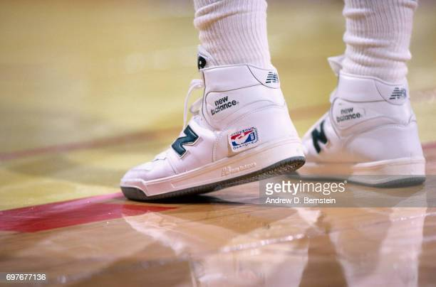 The sneakers of James Worthy of the Los Angeles Lakers are seen during a game played circa 1986 at the Great Western Forum in Inglewod California...