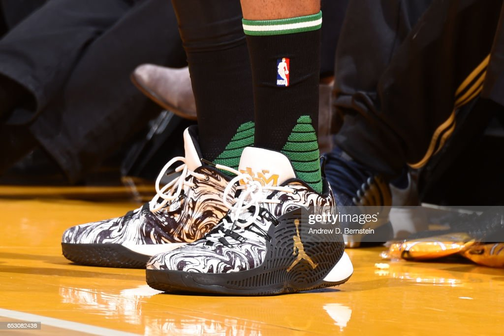 The sneakers of James Young #13 of the Boston Celtics are seen during the game against the Los Angeles Lakers on March 3, 2017 at STAPLES Center in Los Angeles, California.