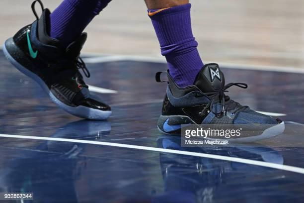 The sneakers of Jared Dudley of the Phoenix Suns during the game against the Utah Jazz on March 15 2018 at vivintSmartHome Arena in Salt Lake City...