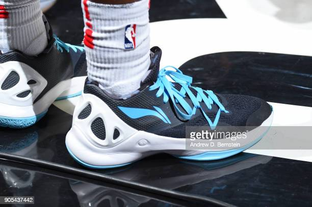 The sneakers of Jawun Evans of the LA Clippers are seen during the game against the Houston Rockets on January 15 2018 at STAPLES Center in Los...
