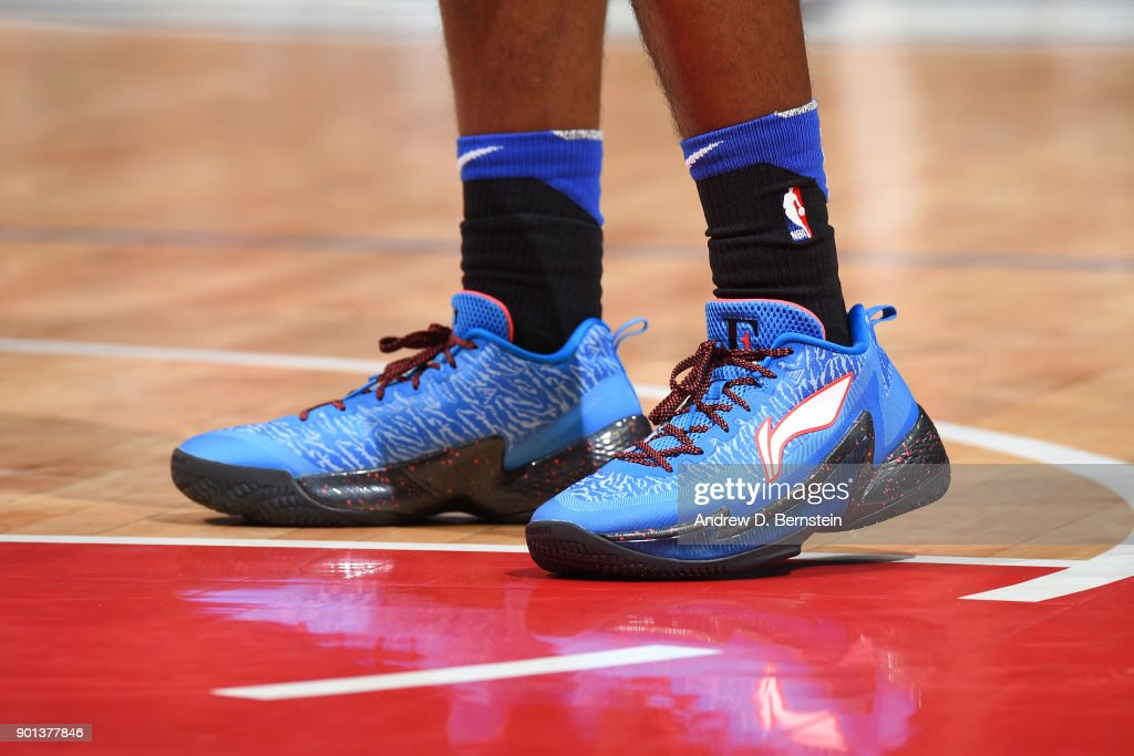 The sneakers of Jawun Evans #1 of the LA Clippers during the game against the Oklahoma City Thunder on January 4, 2018 at STAPLES Center in Los Angeles, California.