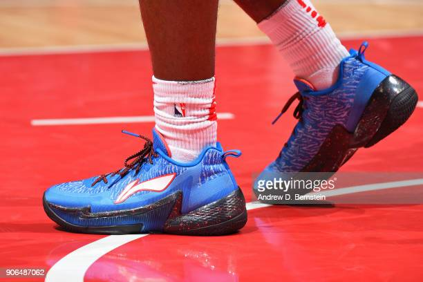 The sneakers of Jawun Evans of the LA Clippers during the game against the Denver Nuggets on January 17 2018 at STAPLES Center in Los Angeles...