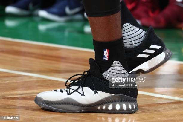 The sneakers of Jaylen Brown of the Boston Celtics are seen during the game against the Cleveland Cavaliers in Game One of the Eastern Conference...