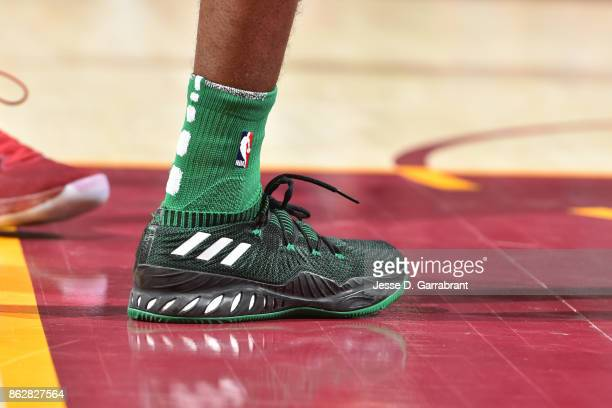 The sneakers of Jaylen Brown of the Boston Celtics during th game against the Cleveland Cavaliers on October 17 2017 at Quicken Loans Arena in...