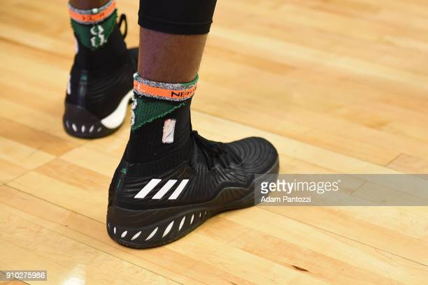 The sneakers of Jaylen Brown of the Boston Celtics during the game against the LA Clippers on January 24 2018 at STAPLES Center in Los Angeles...