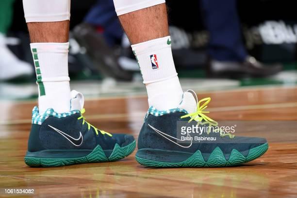 the sneakers of Jayson Tatum of the Boston Celtics are seen against the Chicago Bulls on November 14 2018 at the TD Garden in Boston Massachusetts...