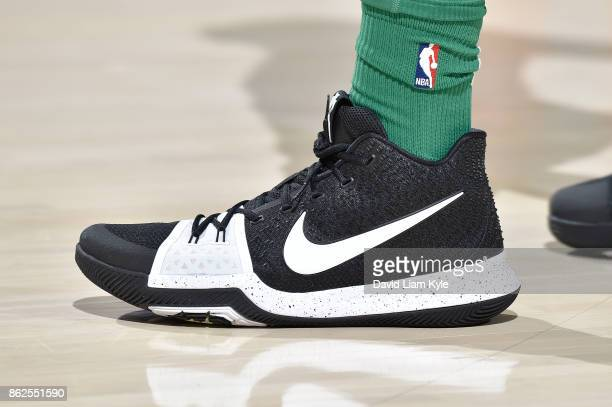 The sneakers of Jayson Tatum of the Boston Celtics are seen before the game against the Cleveland Cavaliers on October 17 2017 at Quicken Loans Arena...