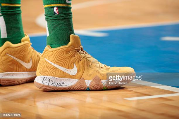 The sneakers of Jayson Tatum of the Boston Celtics are worn during a game against the Dallas Mavericks on November 24 2018 at the American Airlines...