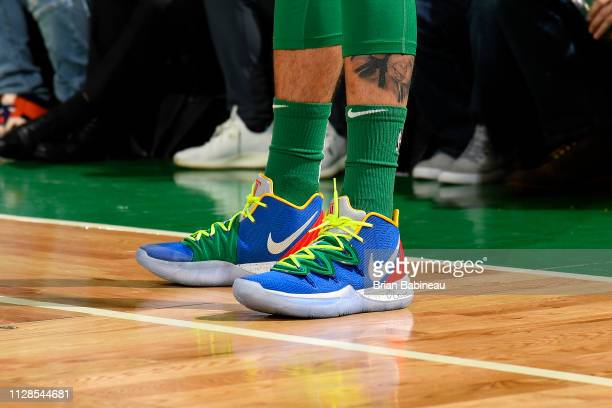 The sneakers of Jayson Tatum of the Boston Celtics during the game against the Houston Rockets on March 3 2019 at the TD Garden in Boston...