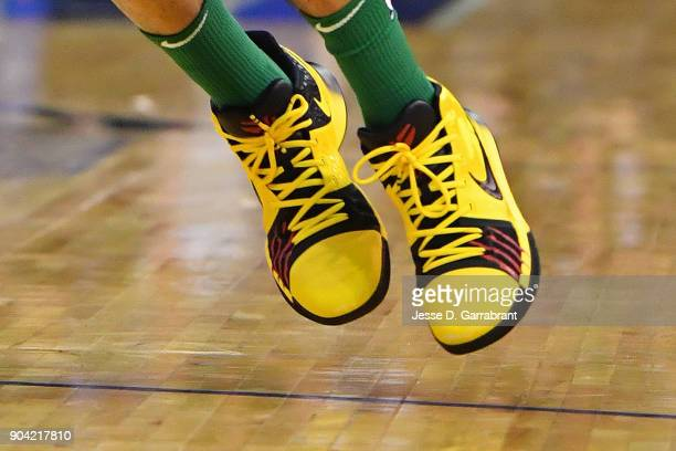The sneakers of Jayson Tatum of the Boston Celtics during the game against the Philadelphia 76ers on January 11 2018 at The O2 Arena in London...