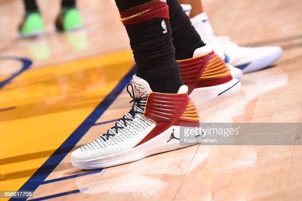 The sneakers of Jeff Green of the Cleveland Cavaliers are seen during the game against the Golden State Warriors on December 25 2017 at ORACLE Arena...
