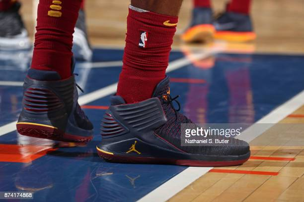 The sneakers of Jeff Green of the Cleveland Cavaliers during the game against the New York Knicks on November 13 2017 at Madison Square Garden in New...