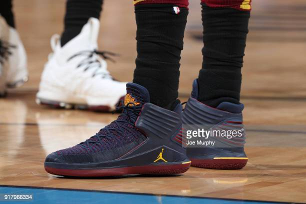 The sneakers of Jeff Green of the Cleveland Cavaliers during the game against the Oklahoma City Thunder on February 13 2018 at Chesapeake Energy...