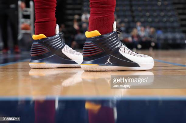The sneakers of Jeff Green of the Cleveland Cavaliers seen before the game against the Memphis Grizzlies on February 23 2018 at FedExForum in Memphis...