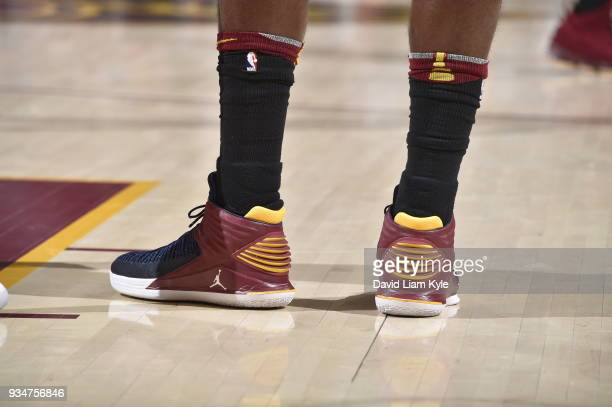 The sneakers of Jeff Green of the Cleveland Cavaliers seen during the game against the Milwaukee Bucks on March 19 2018 at Quicken Loans Arena in...