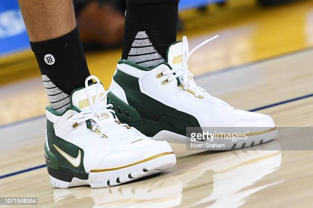 the sneakers of Jeff Teague of the Minnesota Timberwolves are seen against the Golden State Warriors on December 10 2018 at ORACLE Arena in Oakland...
