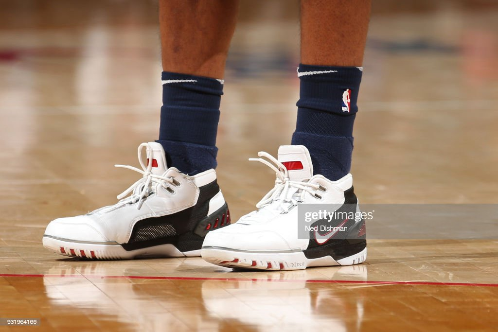 The sneakers of Jeff Teague #0 of the Minnesota Timberwolves during the game against the Washington Wizards on March 13, 2018 at Capital One Arena in Washington, DC.
