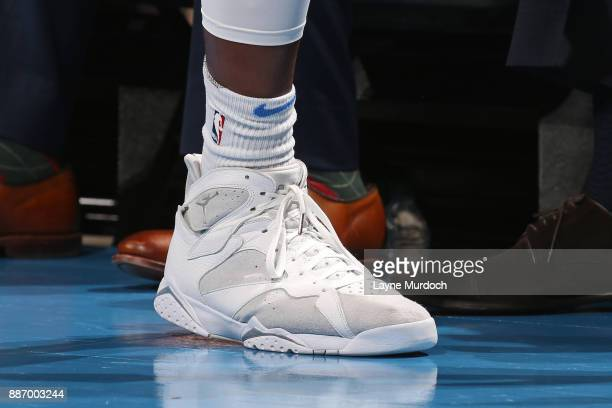 The sneakers of Jerami Grant of the Oklahoma City Thunder during the game against the Utah Jazz on December 5 2017 at Chesapeake Energy Arena in...