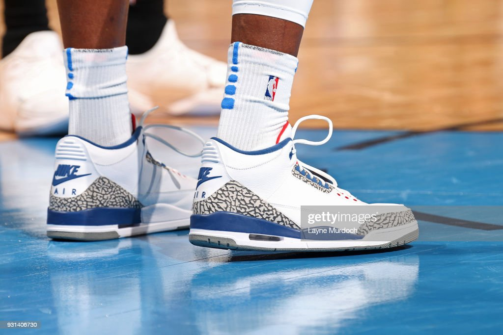 The sneakers of Jerami Grant #9 of the Oklahoma City Thunder during the game against the Sacramento Kings on March 12, 2018 at Chesapeake Energy Arena in Oklahoma City, Oklahoma.