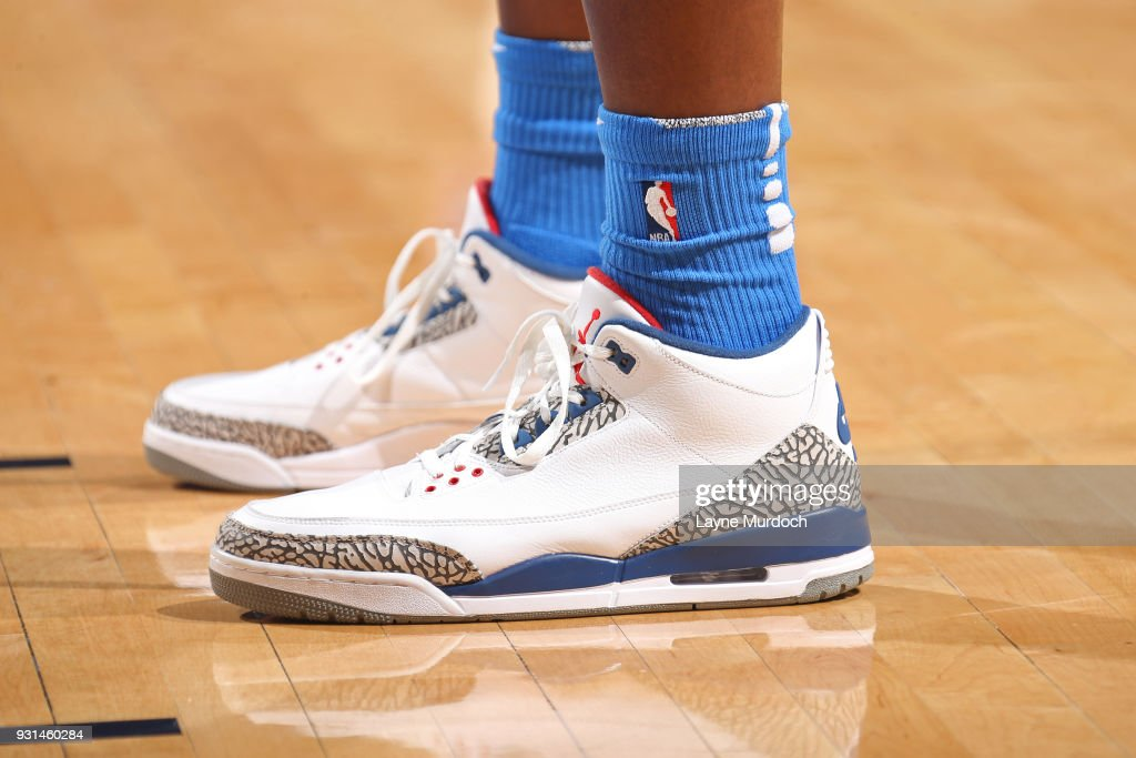 The sneakers of Jerami Grant #9 of the Oklahoma City Thunder during the game against the San Antonio Spurs on March 10, 2018 at Chesapeake Energy Arena in Oklahoma City, Oklahoma.