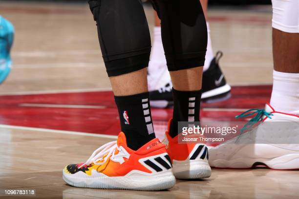 The sneakers of Jeremy Lin of the Atlanta Hawks during the game against the Charlotte Hornets on February 9 2019 at State Farm Arena in Atlanta...