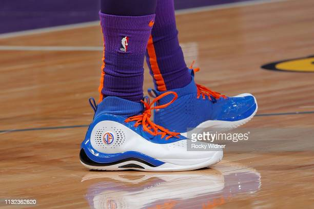 The sneakers of Jimmer Fredette of the Phoenix Suns as seen during the game against the Sacramento Kings on March 23 2019 at Golden 1 Center in...